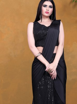 Black Lycra Sequins Designer Saree