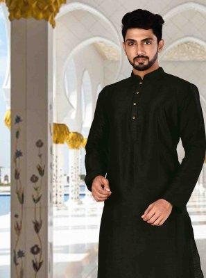 Black Mehndi Art Dupion Silk Kurta Pyjama