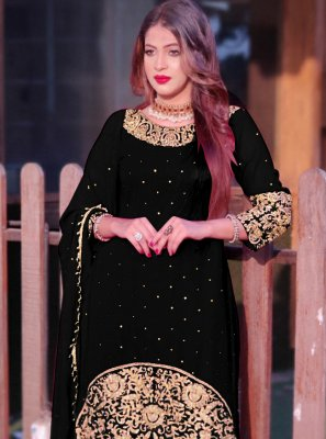 Black Mehndi Faux Georgette Long Choli Lehenga