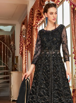 Black Mehndi Net Long Choli Lehenga