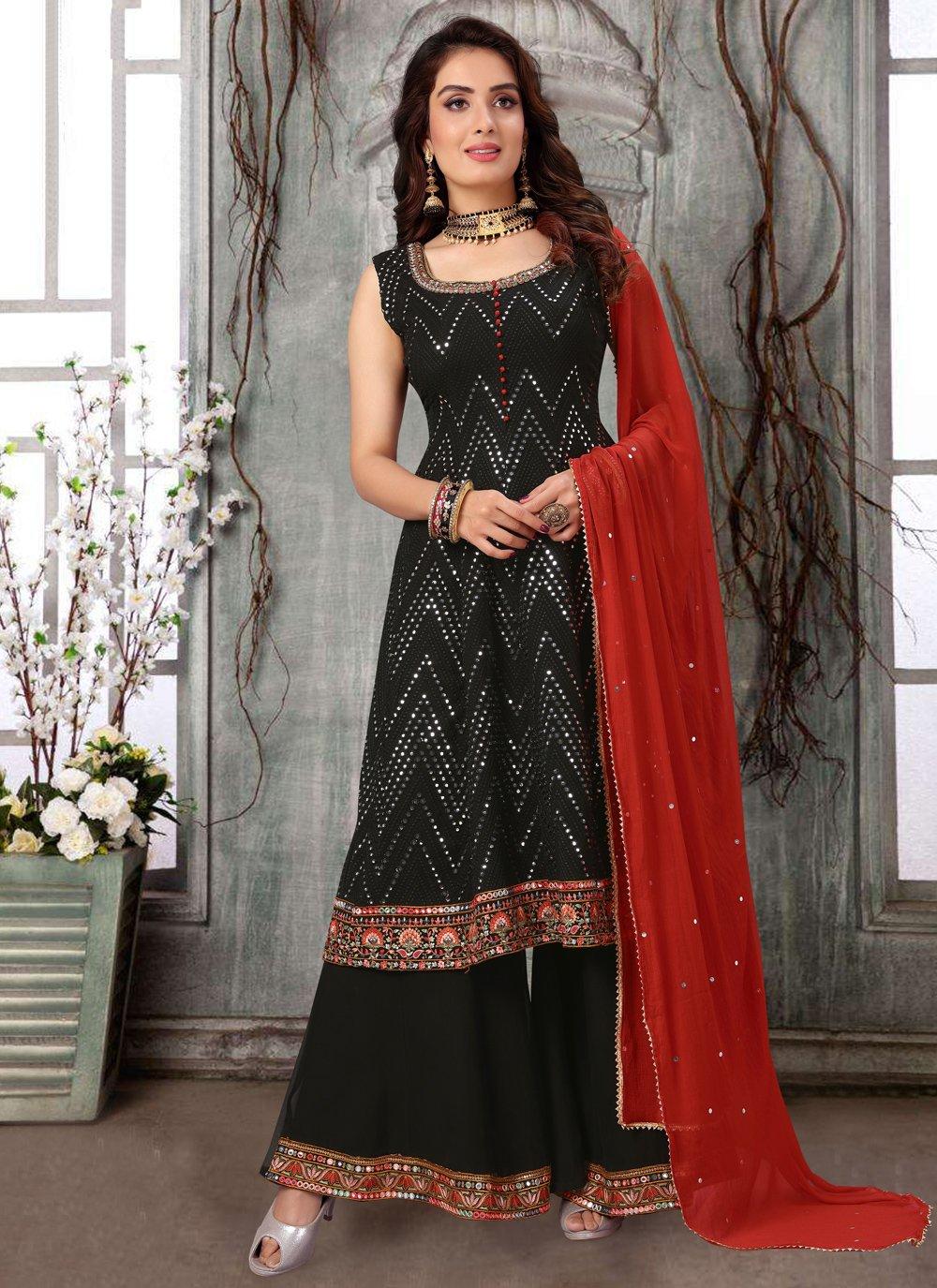 Black Mehndi Readymade Suit