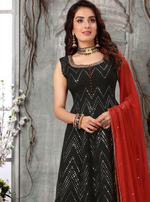 Black Mehndi Readymade Suit