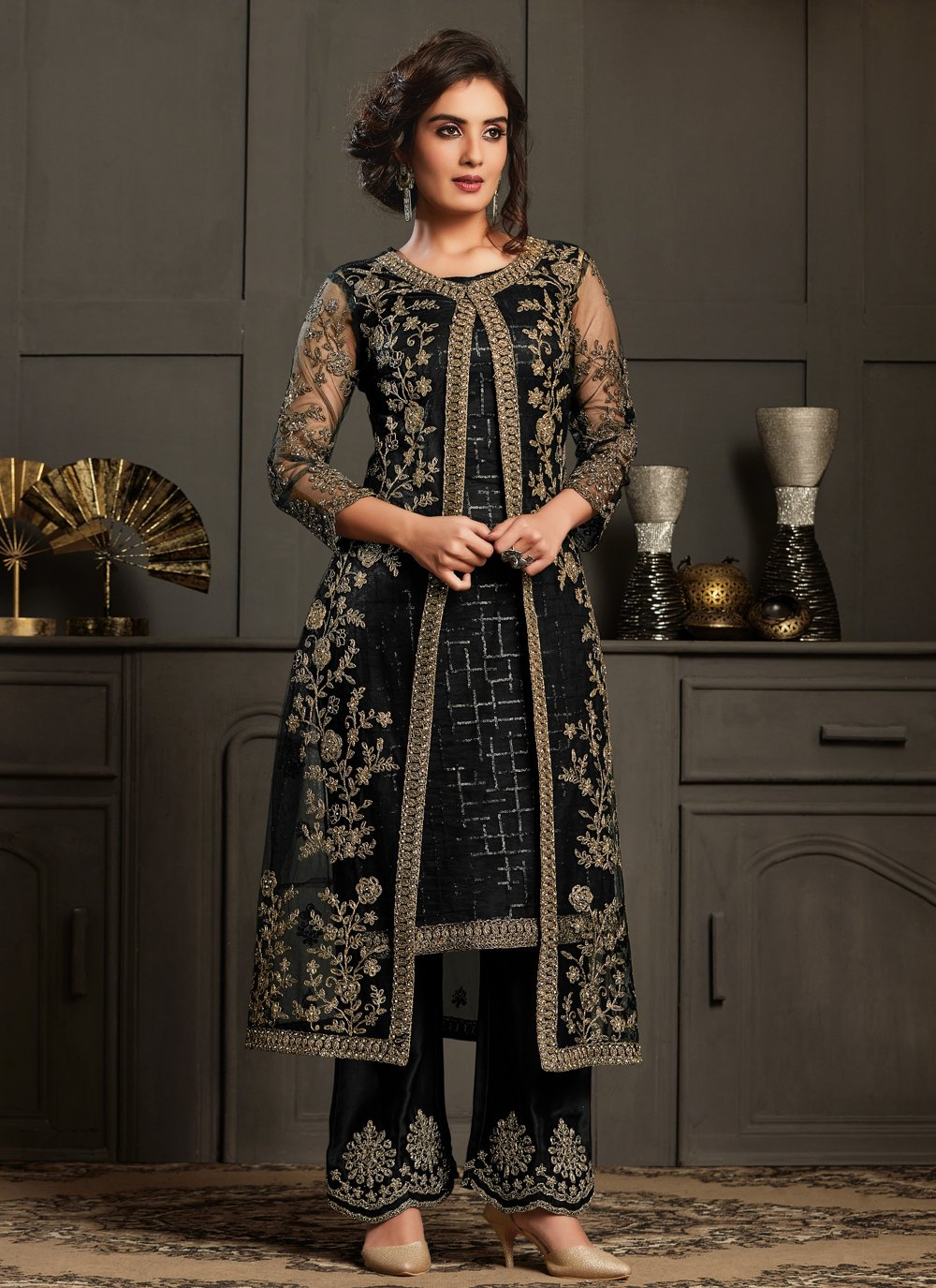 Black Net Designer Floor Length Salwar Suit