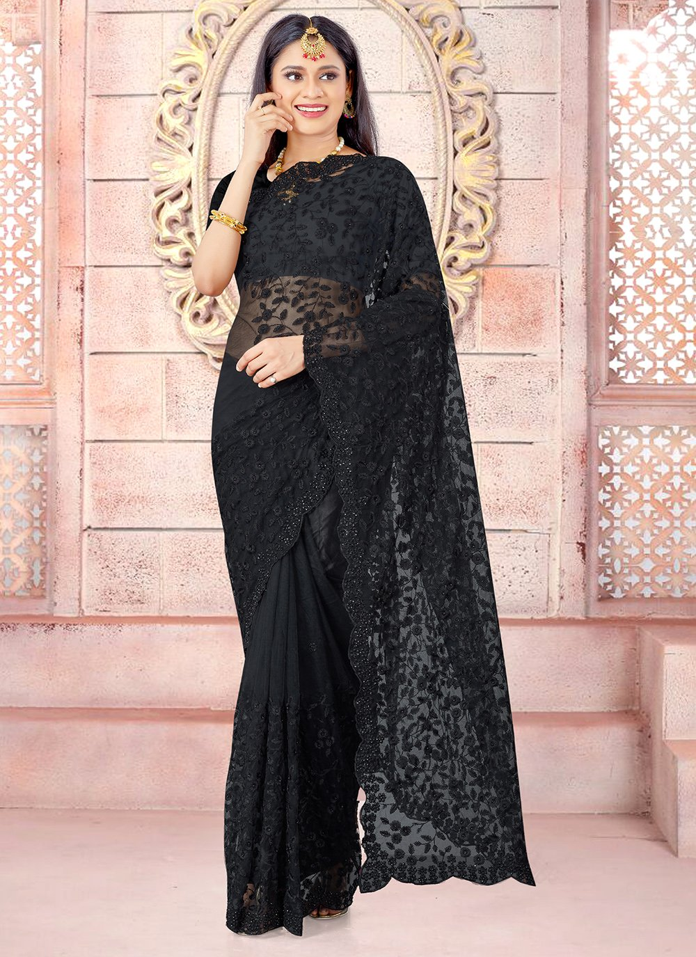 Black Net Embroidered Designer Traditional Saree