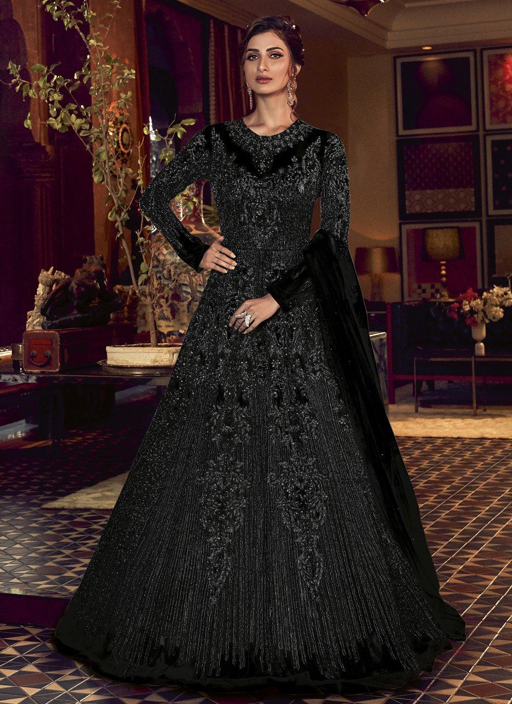Black Net Engagement Floor Length Anarkali Suit