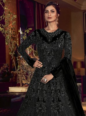 Black Net Engagement Floor Length Anarkali Suit