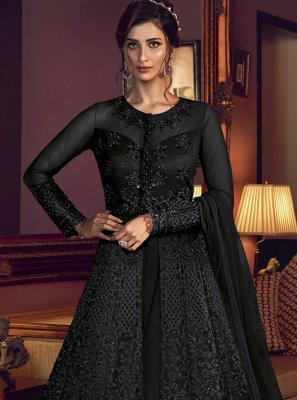 Black Net Resham Floor Length Anarkali Suit