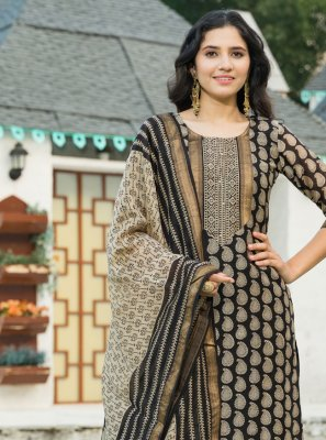 Black Party Chanderi Trendy Salwar Suit