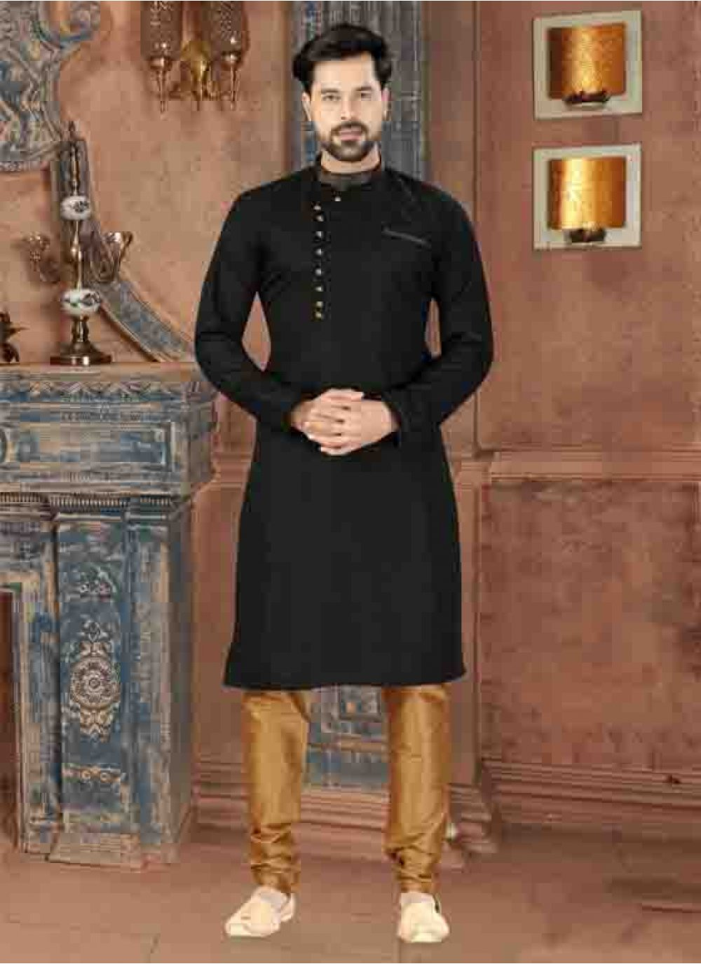 Black Plain Art Silk Kurta Pyjama