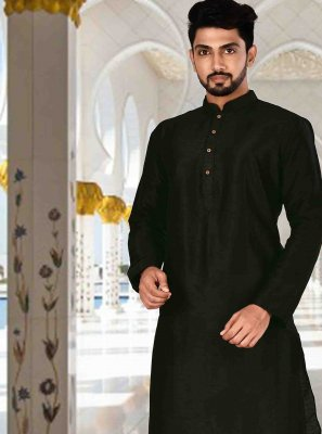Black Plain Ceremonial Kurta Pyjama