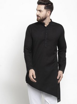 Black Plain Cotton Kurta Pyjama