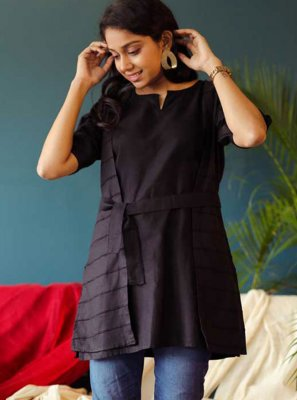 Black Plain Cotton Party Wear Kurti