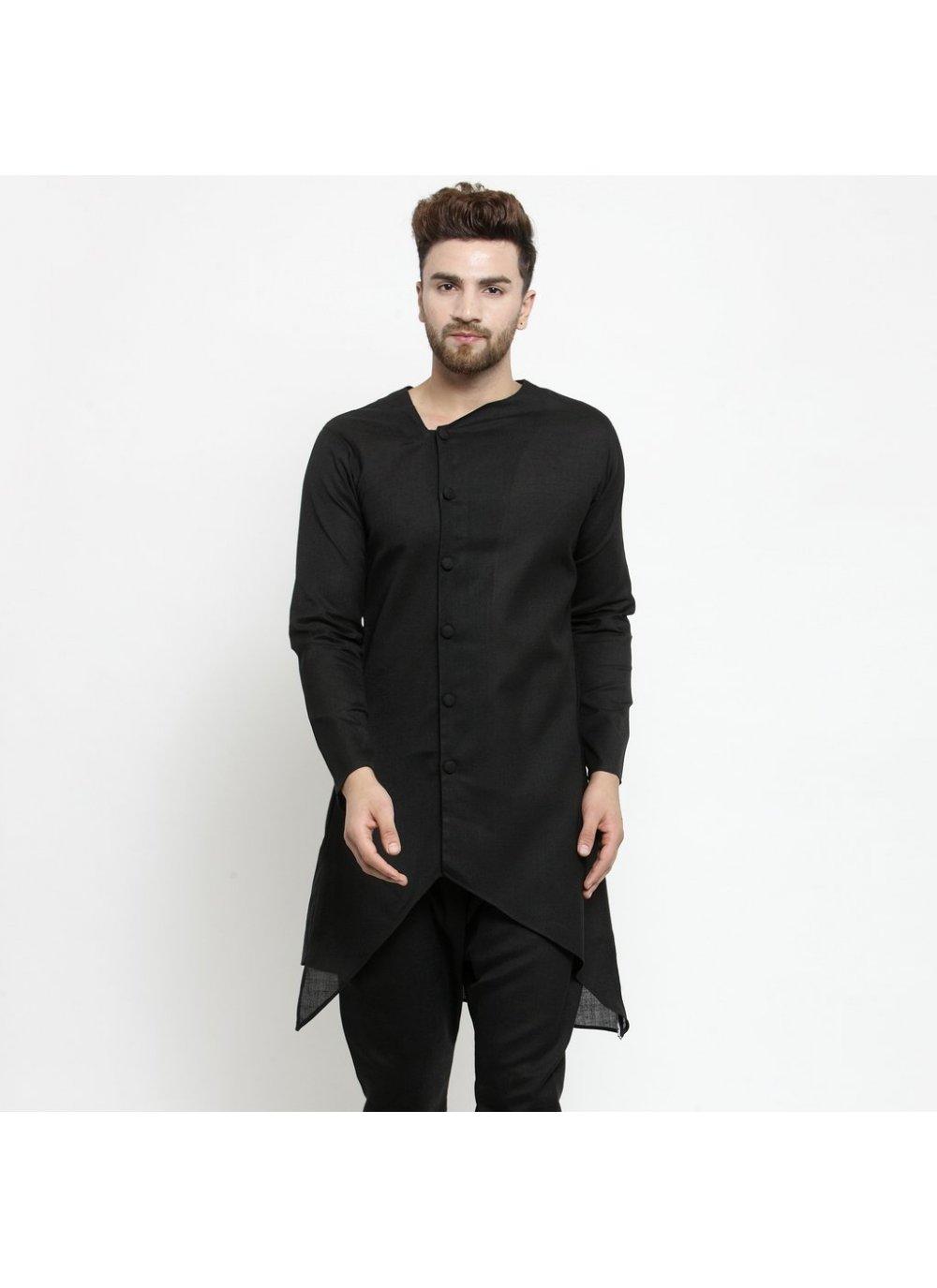 Black Plain Engagement Kurta Pyjama