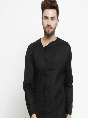Black Plain Engagement Kurta Pyjama