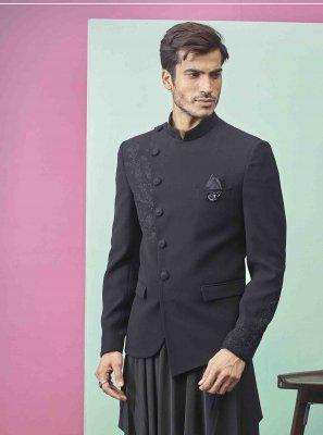 Black Plain Fancy Fabric Indo Western