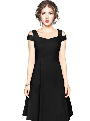 Black Plain Fancy Fabric Party Wear Kurti