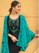 Black Print Cotton Silk Patiala Suit
