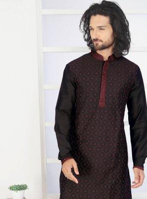 Black Print Poly Silk Kurta Pyjama