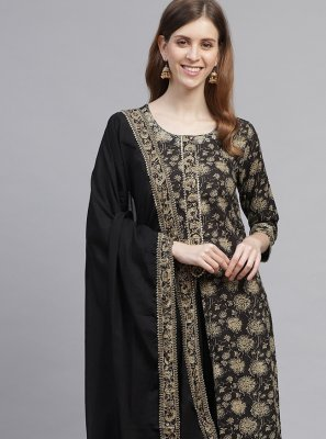Black Printed Cotton Readymade Suit