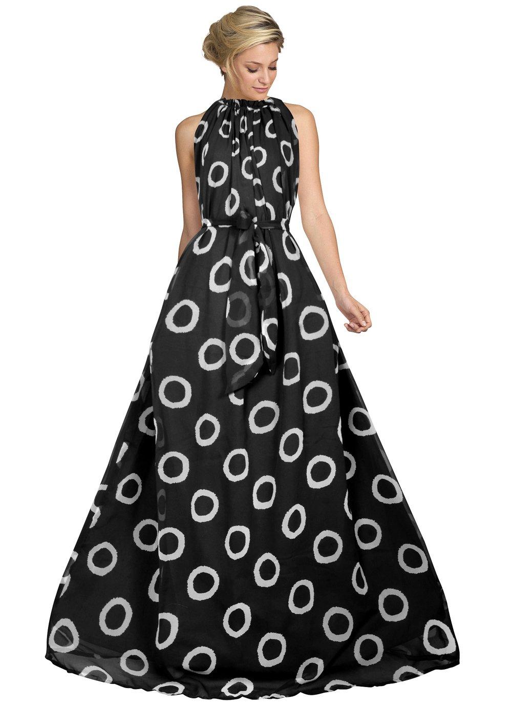 Black Printed Faux Georgette Designer Gown