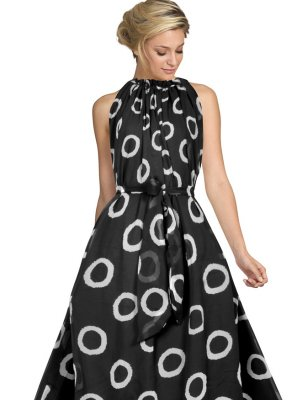 Black Printed Faux Georgette Designer Gown