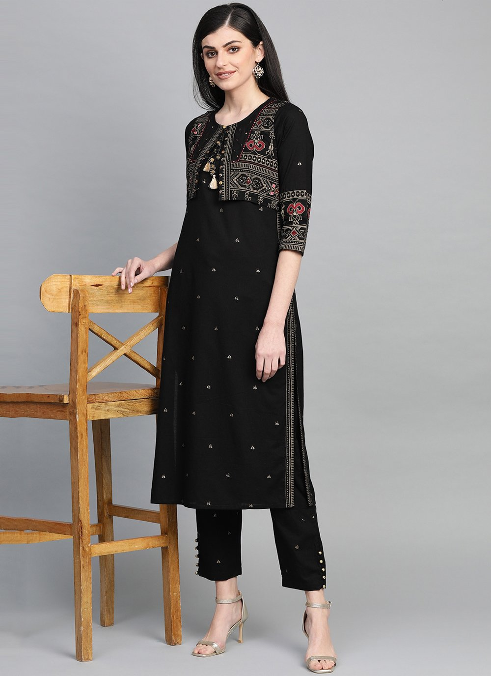 Black Printed Party Wear Kurti