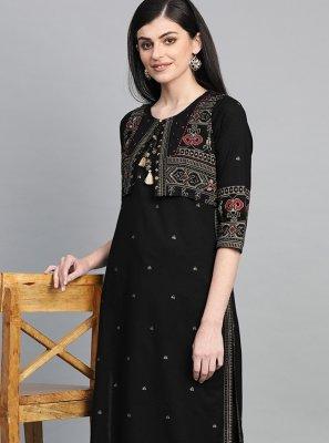 Black Printed Party Wear Kurti