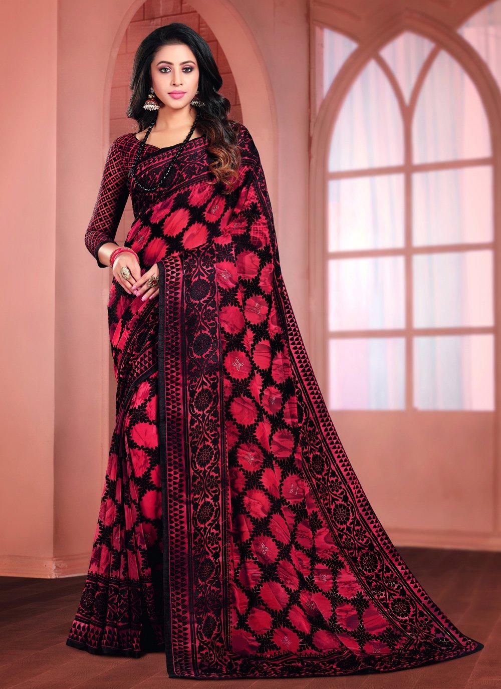 Black Printed Printed Saree