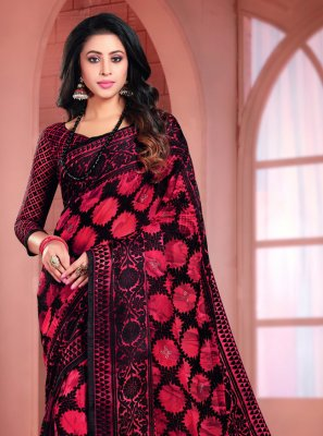 Black Printed Printed Saree
