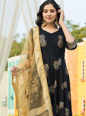 Black Rayon Print Designer Suit
