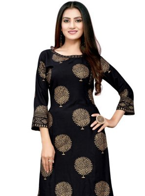 Black Rayon Print Party Wear Kurti