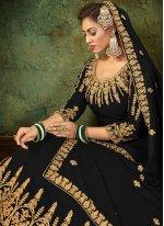 Black Resham Floor Length Anarkali Suit