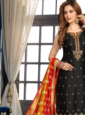 Black Sangeet Art Silk Designer Suit