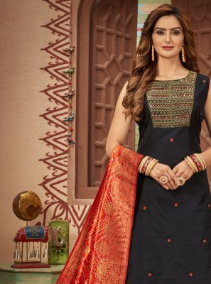 Black Sangeet Chanderi Designer Suit