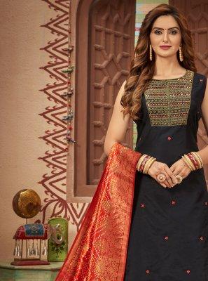 Black Sangeet Chanderi Designer Suit