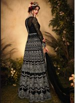Black Sangeet Net Floor Length Designer Suit