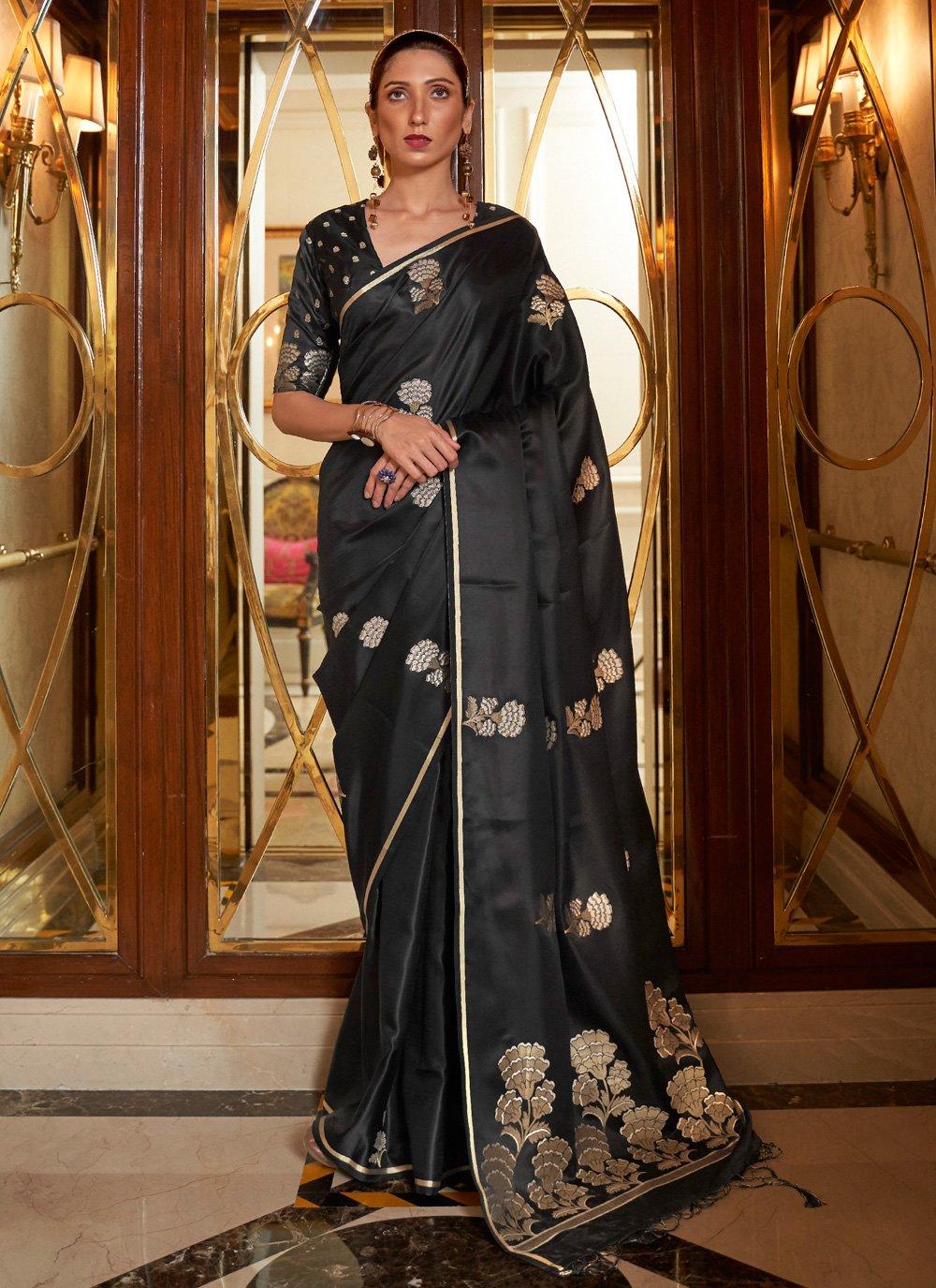 Black Satin Festival Traditional Designer Saree
