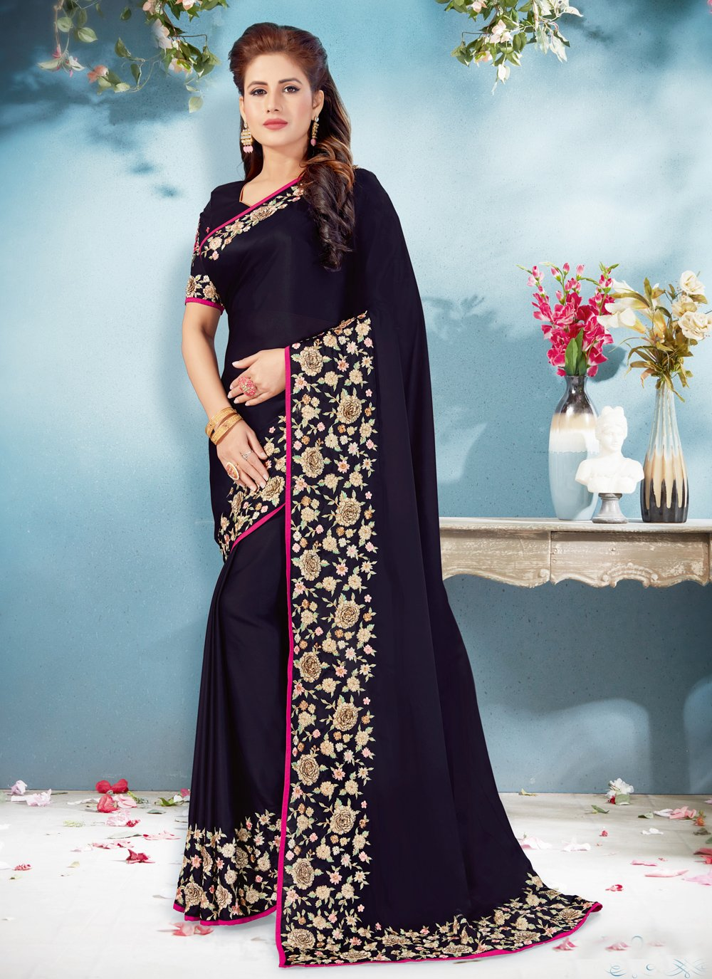 Black Satin Festival Trendy Saree