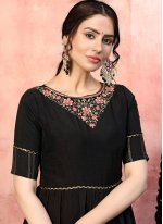 Black Sequins Silk Designer Gown