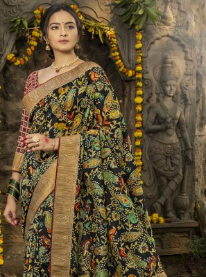 Black Silk Digital Print Designer Traditional Saree