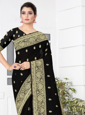 Black Silk Embroidered Traditional Saree