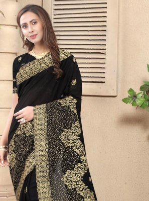 Black Silk Festival Designer Saree