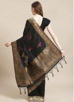 Black Silk Traditional Designer Saree