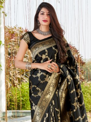 Black Silk Weaving Designer Traditional Saree