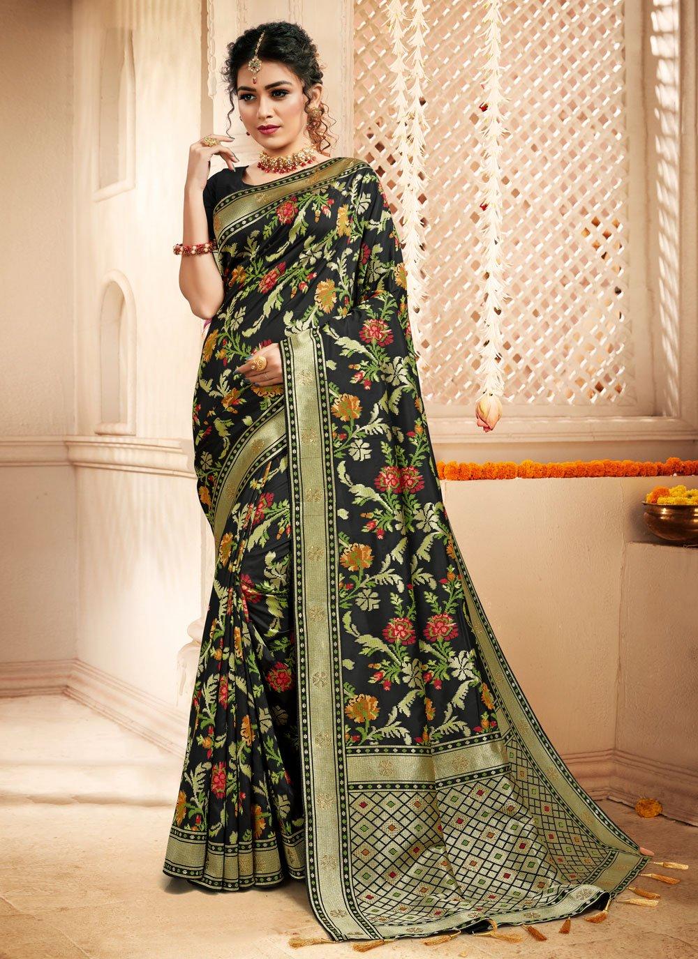 Black Silk Weaving Designer Traditional Saree