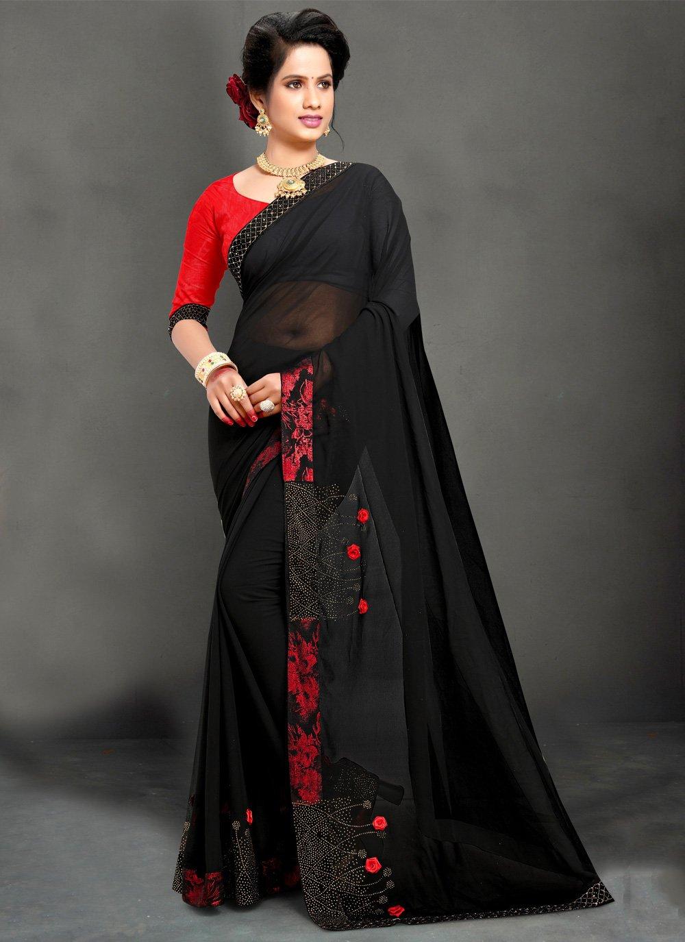 Black Stone Georgette Trendy Saree