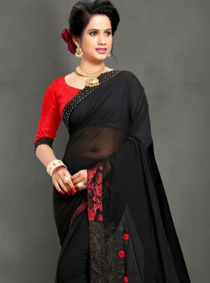 Black Stone Georgette Trendy Saree