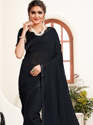 Black Stone Work Satin Trendy Saree