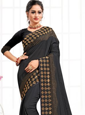 Black Swarovski Satin Contemporary Saree