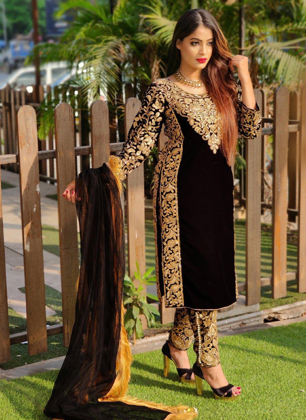 Black Velvet Pant Style Suit